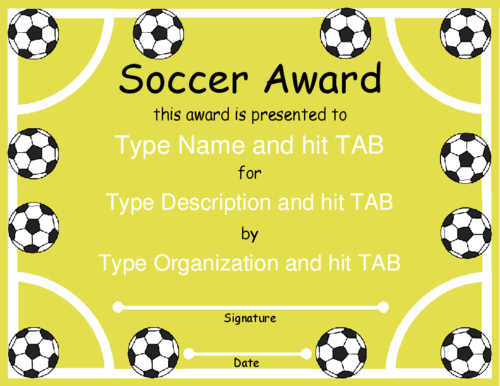 award certificate templates soccer award with a soccer field and balls design in yellow and