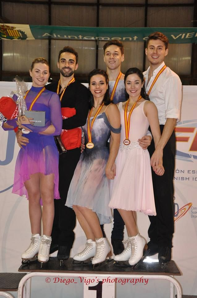 "myfriendamy: "" 2016 Spanish Nationals Dance Podium G–Hurtado/Khaliavin S–Smart/Diaz B–Robledo/Fenero """