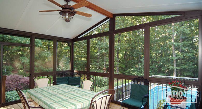 Screen Room With Bronze Aluminum Frame And Gable Roof