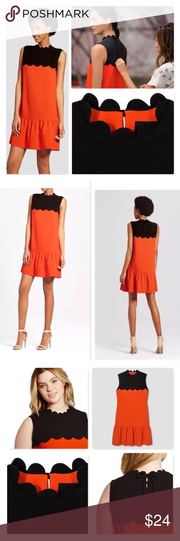 Victoria Beckhamdrop Waist Scallop Trim Dress Sz L Victoria Beckham For Target Orange And Black Drop Waist Scalloped Trim Dress Dresses Victoria Beckham Target [ 1740 x 580 Pixel ]