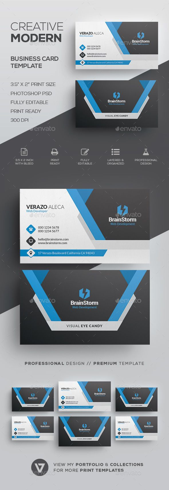 Modern Business Card Template | Buy business cards, Card templates ...