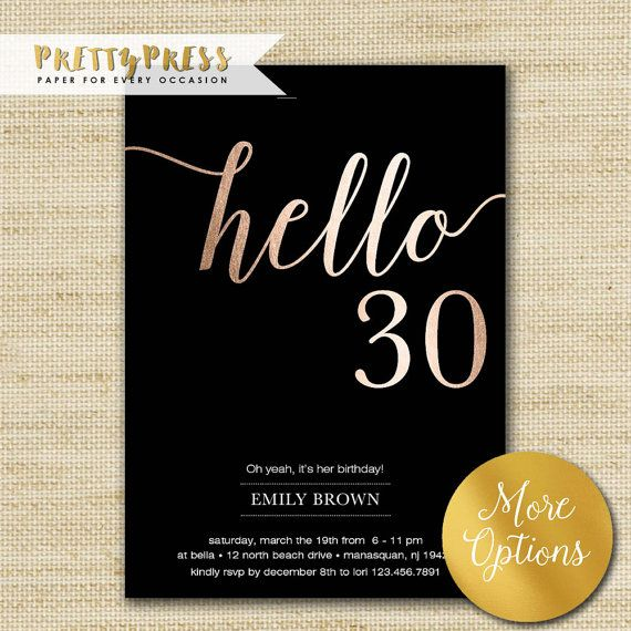 30th birthday invitation modern faux gold foil hello 30 thirty 30th birthday invitation modern gold foil hello 30 by prettypress filmwisefo Gallery