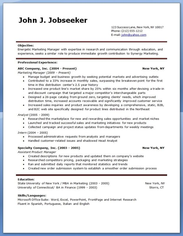 Resume Examples Creative Resume Design Templates Word - examples of marketing resumes