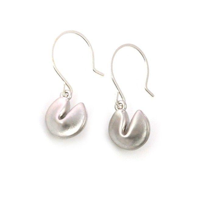 Fortune cookie oorbellen zilver - #applepiepieces