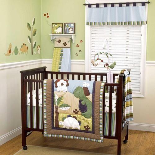 Green And Brown Dinosaur Nursery Baby Boy Monster 4pc Crib