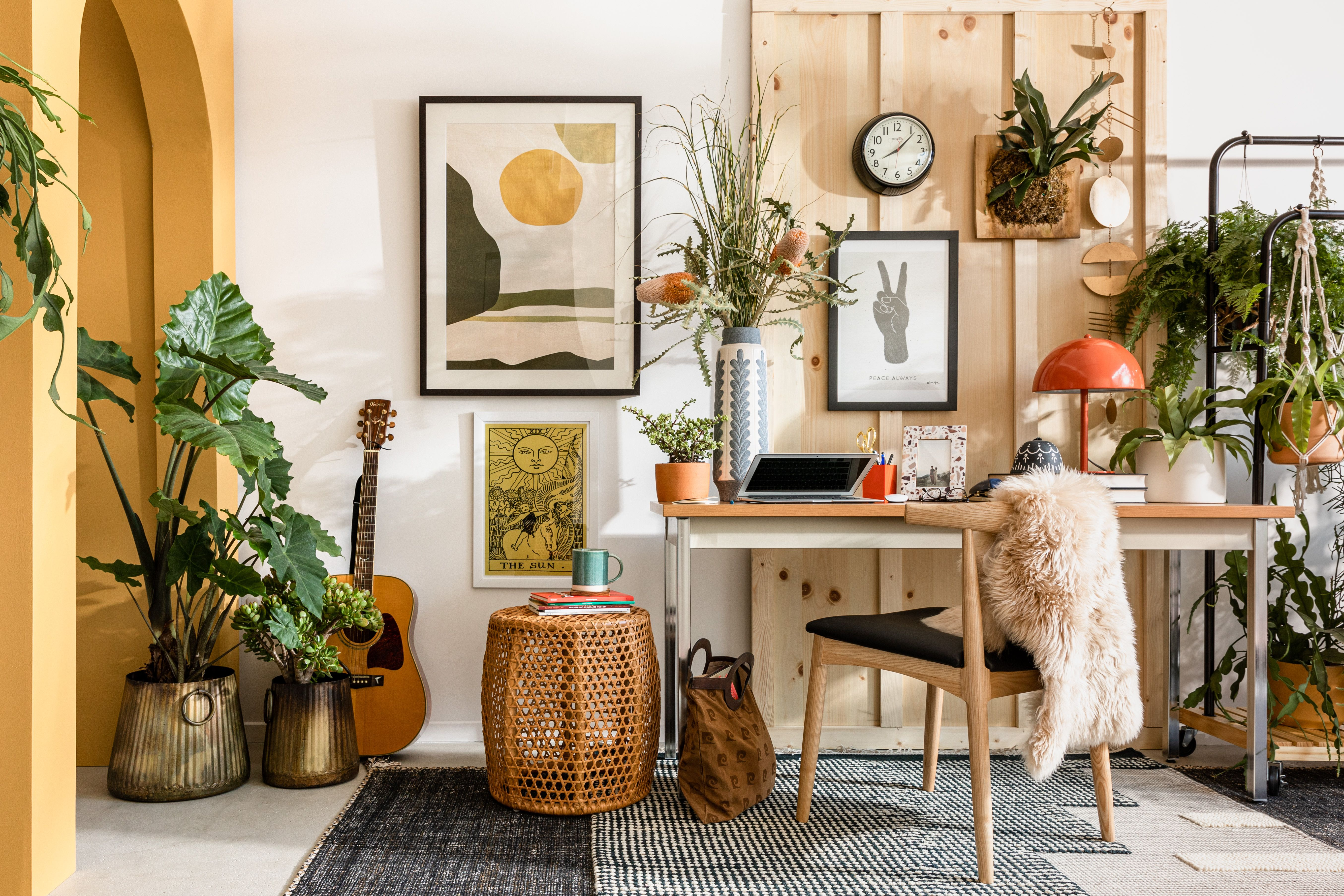 This Compact Home Desk Setup Includes The Perfect Zoom Background Hunker Retro Living Rooms Decor Decor Inspiration Living room background for zoom