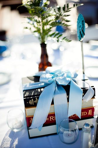 Really cute ideas! Love the books wrapped in ribbon for table decor