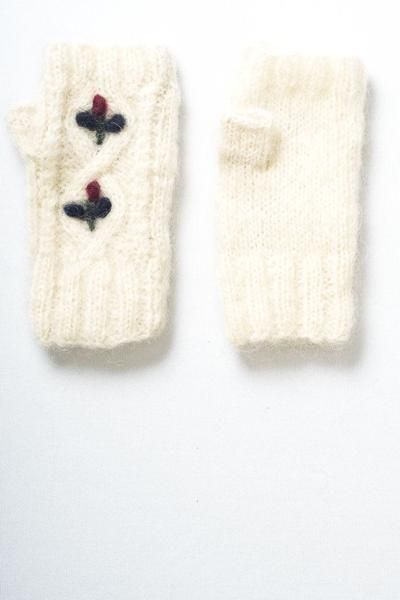 knitted mohair mittens