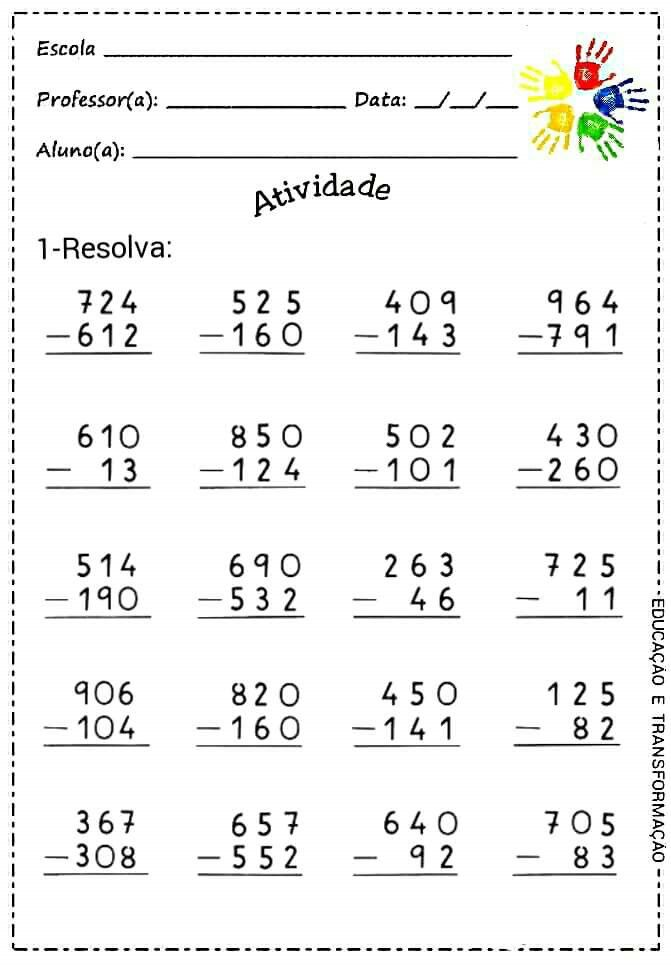 Subtraction With And Without Regrouping Com Imagens Atividades