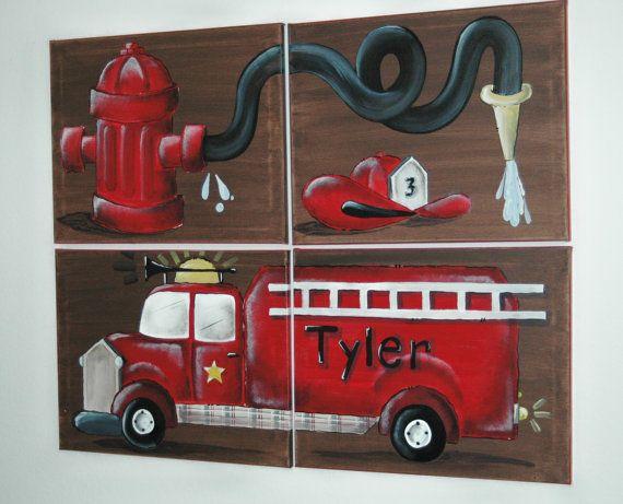 Little Boy Fire Truck Mural Large Personalized 129 99 Fire Truck Nursery Truck Room Fire Truck Room