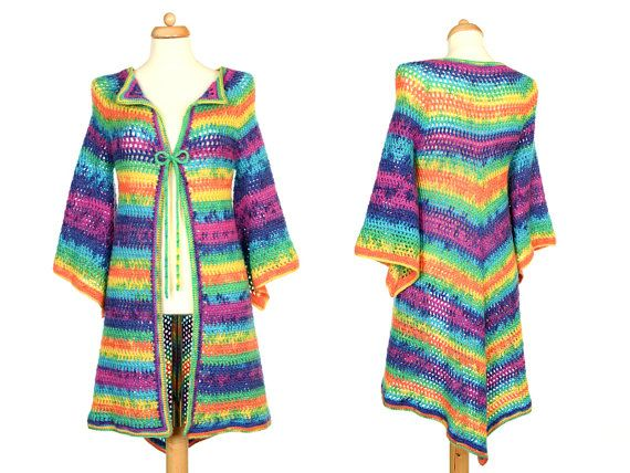 Rainbow Pixie Cardigan  Hippie Festival Sweater  by Pippiripi