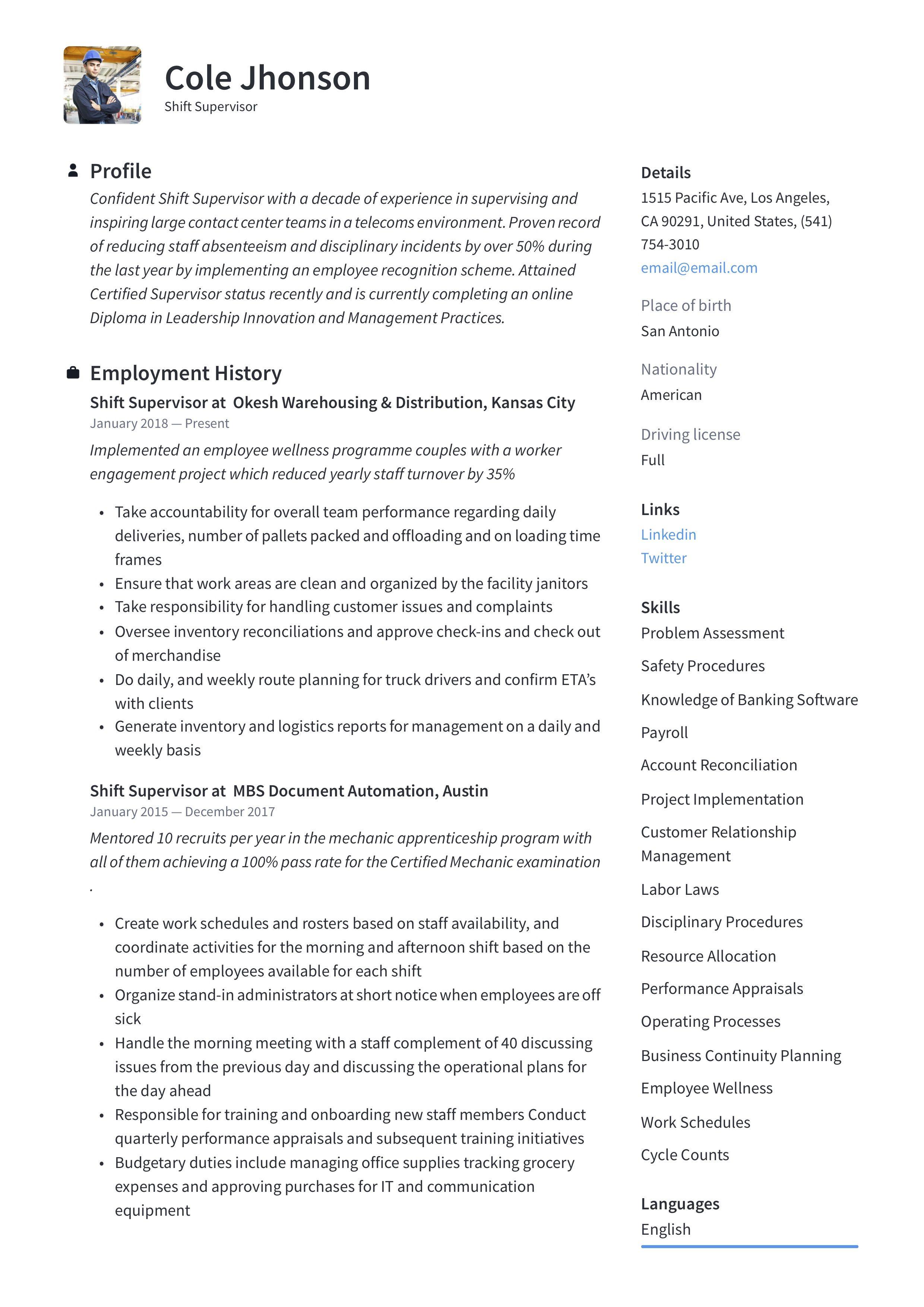 Modern Shift Supervisor Resume, template, design, tips