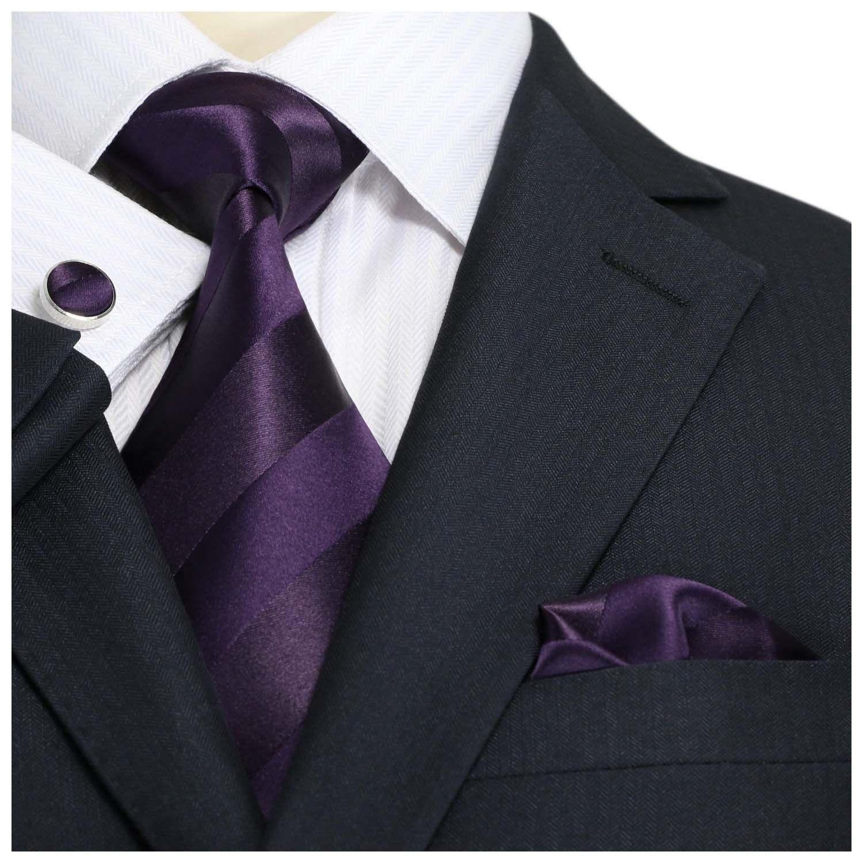 "Landisun Stripes Mens SILK Tie Set: Tie+Hanky+Cufflinks 22N Dark Purple,  3.25""Wx59""L at Amazon Men's Cl… | Mens silk ties, Necktie set, Tie  hanky cufflink"
