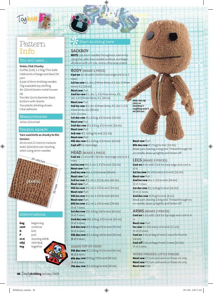 Sackboy Knitting Pattern Screen | carla | Pinterest | Knit patterns ...