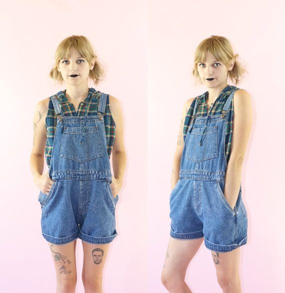 Denim Early 90s Overall Shorts 90s Grunge Vintage by ACTUALTEEN