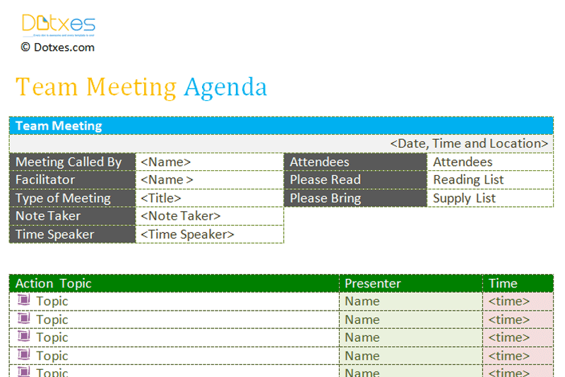Team Meeting Agenda Template  Ptso Ideas