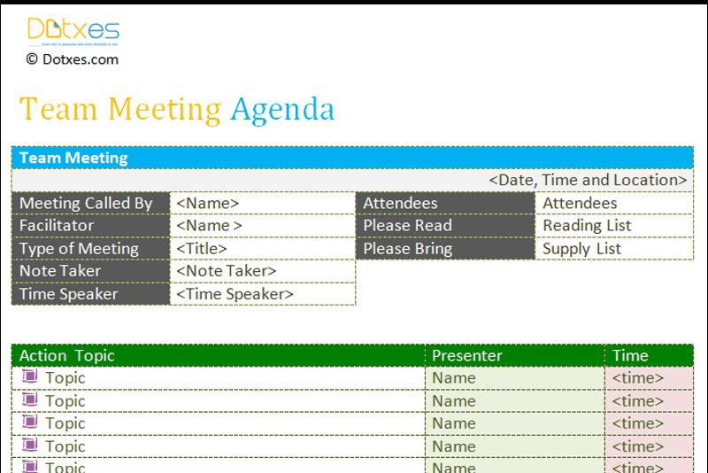 team meeting agenda template free