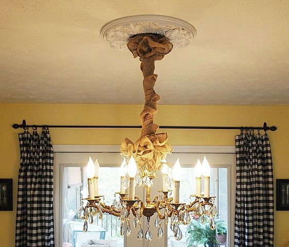 Dining room decorating autumn changes i made burlap chandeliers instead of a cord cover wrap your chandelier cord with burlap aloadofball Images
