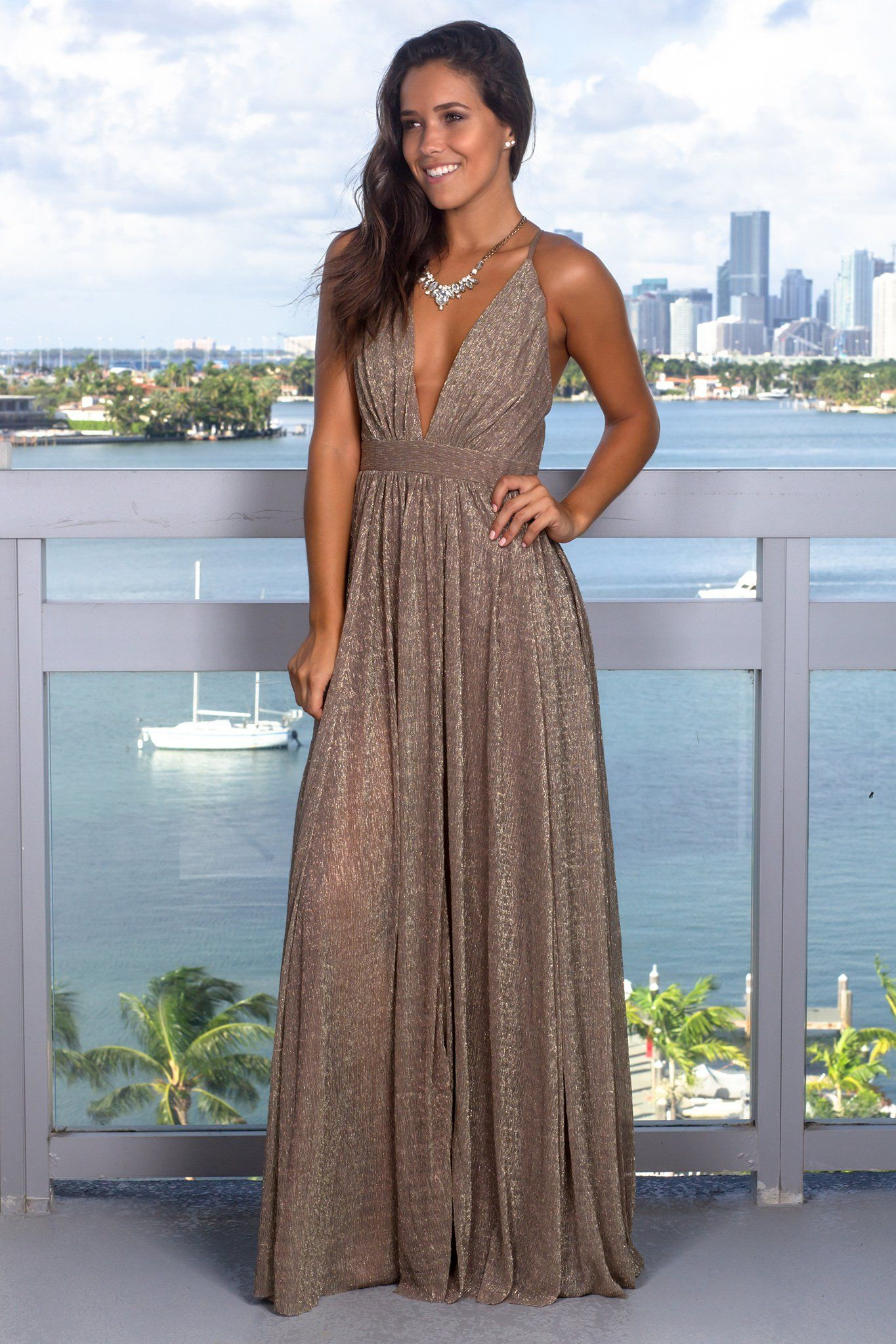 Bronze Maxi Dress With Shimmer Detail Gold Maxi Dress Maxi Dress Dresses [ 2047 x 1365 Pixel ]