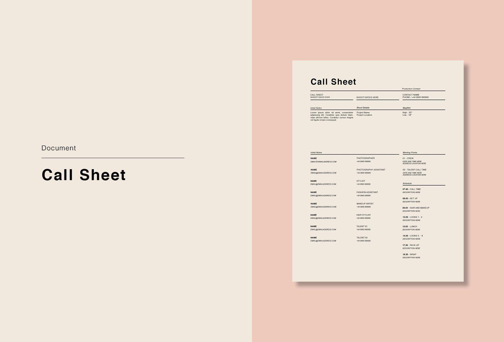 Photoshoot Call Sheet Sheet Magazine Layout Inspiration Template Design Call sheet template google docs