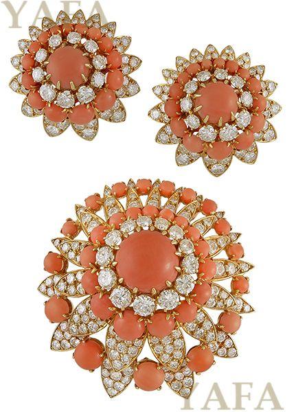 VAN CLEEF & ARPELS Diamond Coral Brooch Suite - Yafa Jewelry