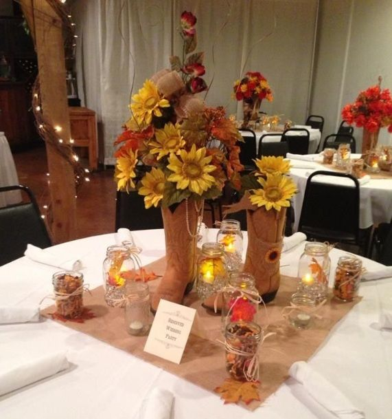 Cowboy Cowgirl Wedding Ideas: Western Cowboy Boot Centerpieces Themed Table Decorations