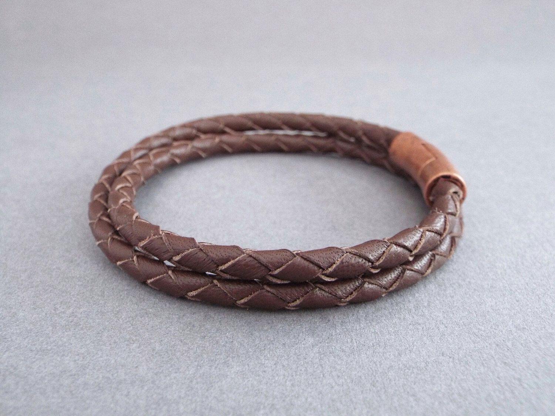 Mens leather bracelet braided bracelet husband gift boyfriend