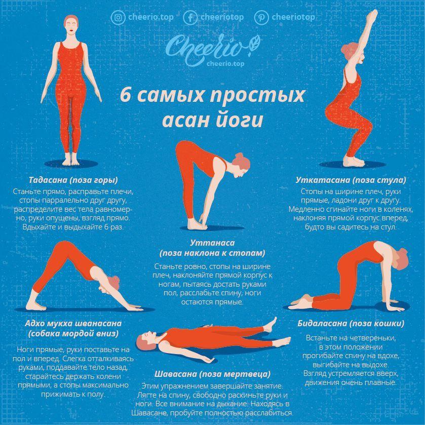 6 самых простых асан йоги. Зарядка на каждый день. | Йога ...