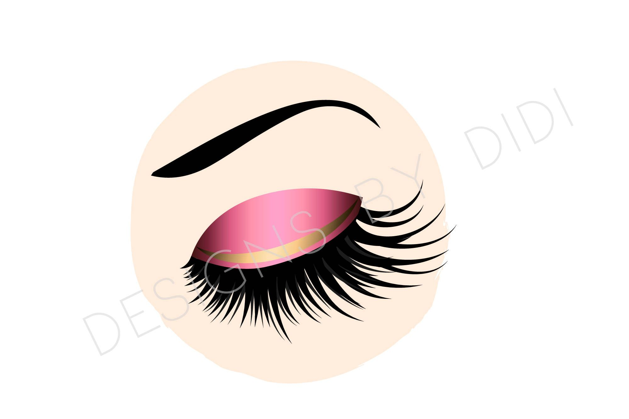 Instant Download Lash Clipart Pink Gold Lashes Clip Art Etsy In 2021 Clip Art Pink And Gold Lashes Logo