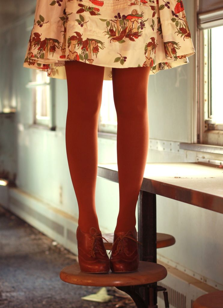 Vintage print dress, solid color stockings with matching heeled oxfords.