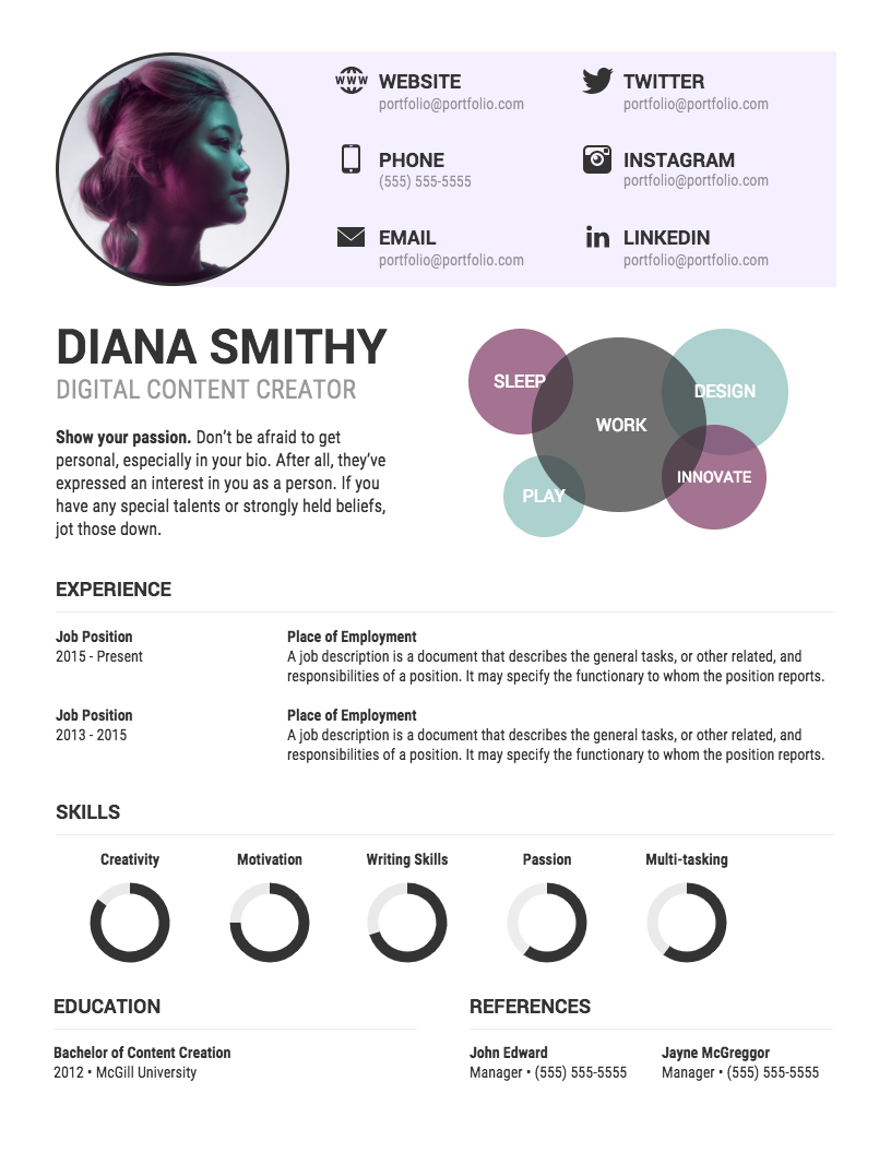 20 Infographic Resume Templates And Design Tips To Help You Land That Job Visualize Your Interests Skills Using Charts