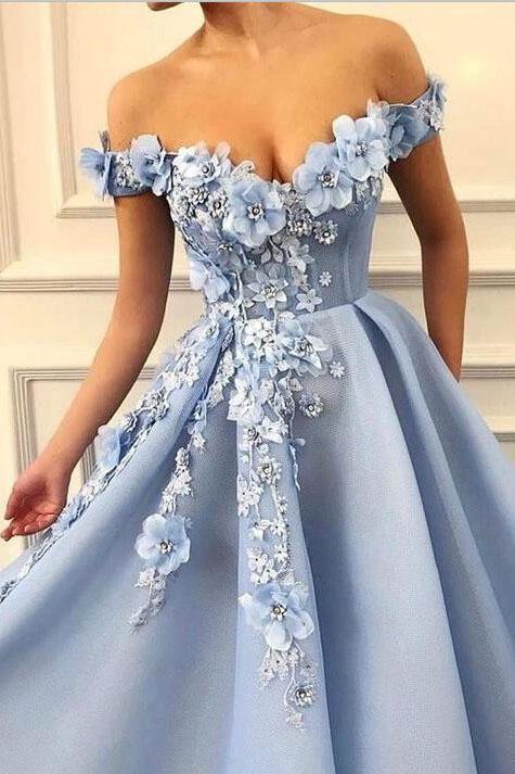Blue Off Shoulder Flower Appliques A-line Long Modest Beautiful Prom Dresses OKH13