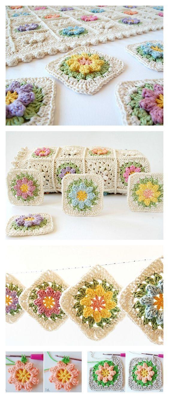 Crochet Primavera Flowers Granny Square Free Pattern and Tutorial ...