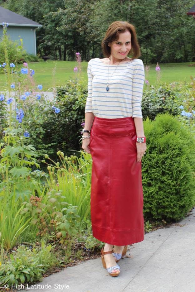#fashionover40 #fashionover50 maxi leather skirt at the Top of the World Style fashion linkup party Thursdays on High Latitude Style http://www.highlatitudestyle.com by @high