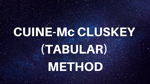 Cuine Mc Cluskey Tabular Method Method Mcs Electrical Engineering