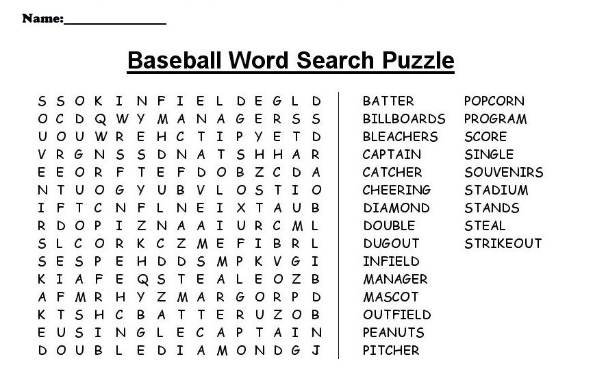 Baseball Word Search Pdf Printable Shelter Educative Puzzle For