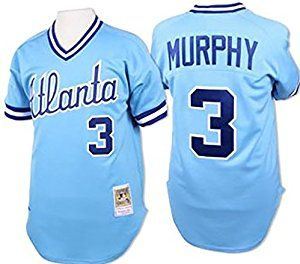 Men's Atlanta Braves Murphy #3 Throwback Jersey Baseball Jersey Blue
