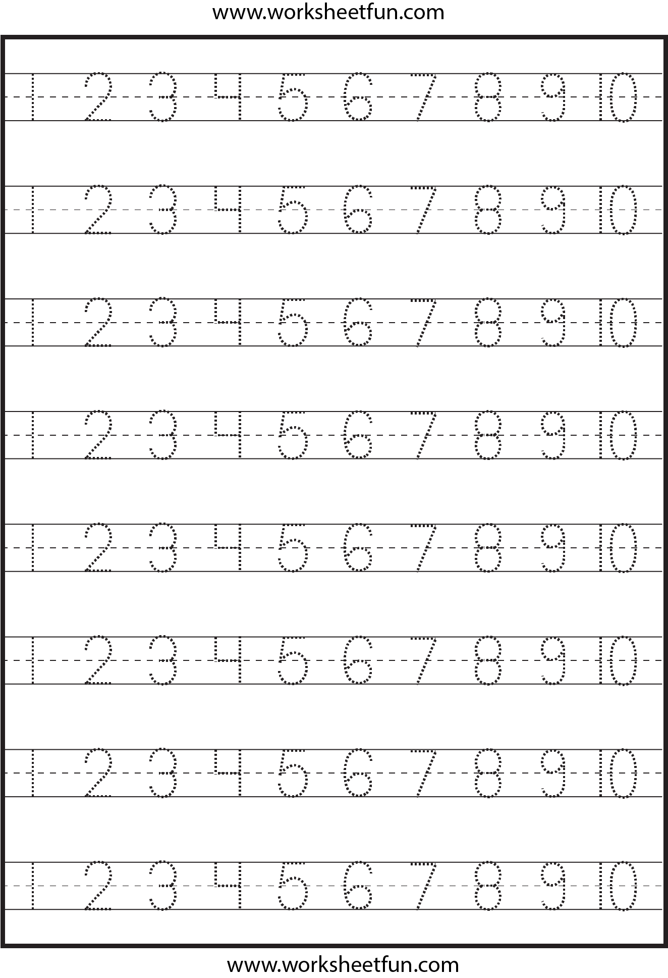 Number Tracing – 1-10 – Worksheet   Free preschool worksheets [ 1937 x 1324 Pixel ]