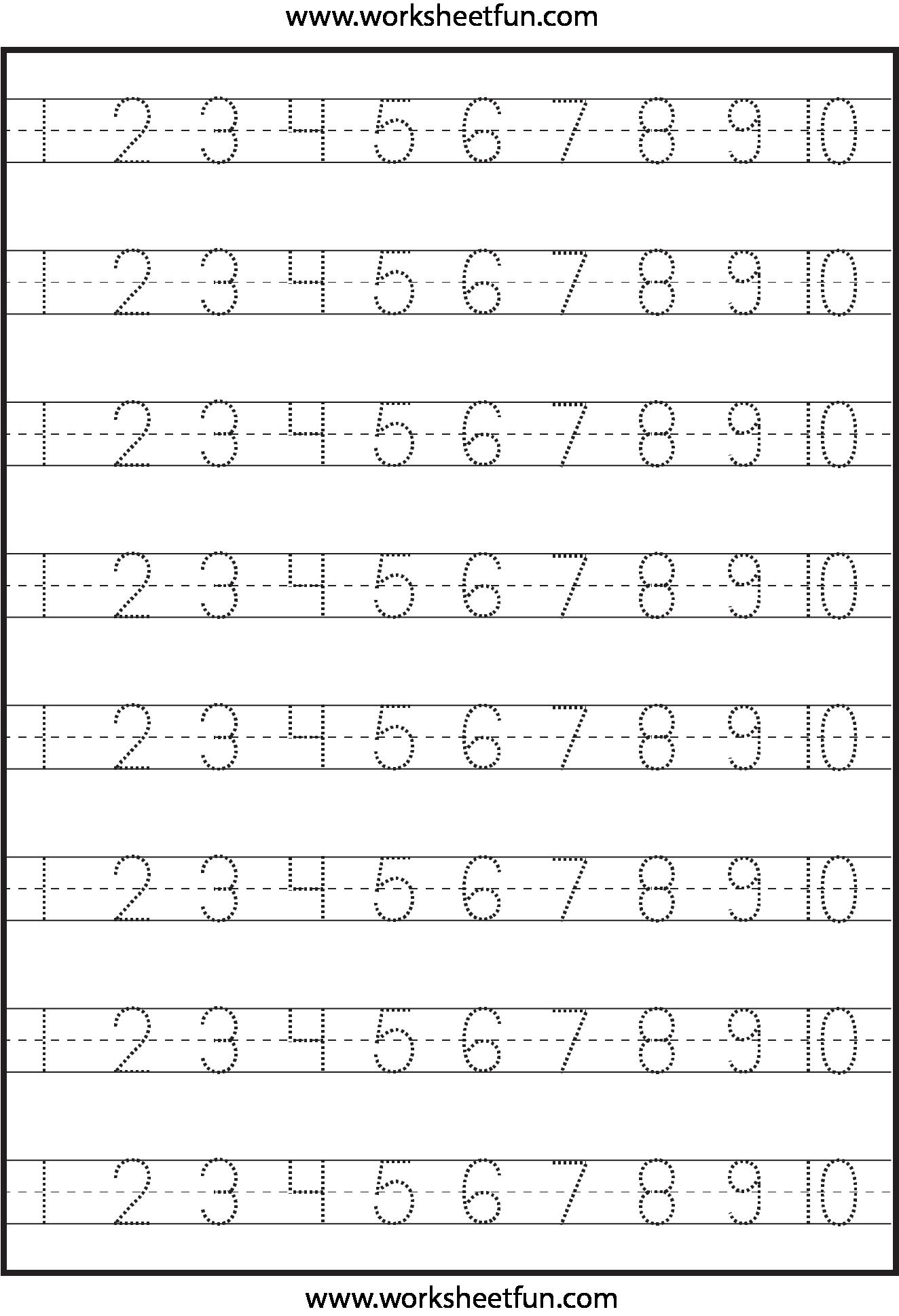 small resolution of Number Tracing – 1-10 – Worksheet   Free preschool worksheets
