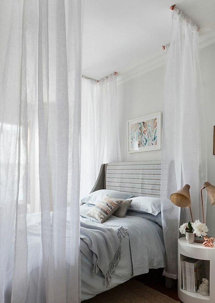 Himmelbett an der Wand befestigt - und 54 weitere Himmelbett-Ideen - schlafzimmer jugendzimmer einrichtungsideen