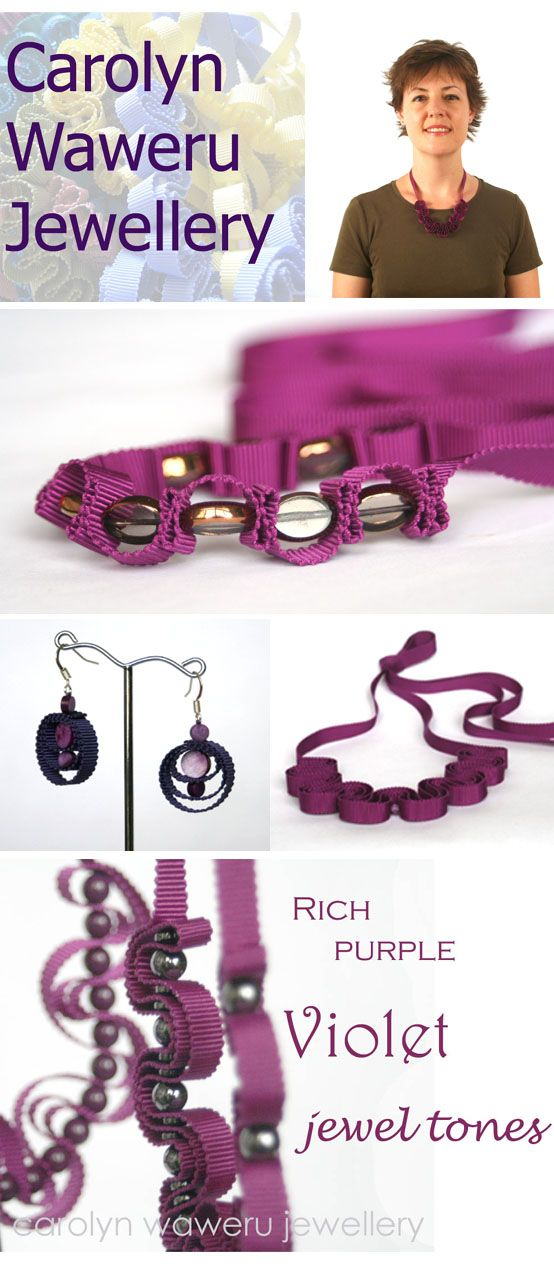Beautiful purple ribbon necklaces, all hand stitched with glass beads. Unique jewellery from carolyn waweru jewellery.