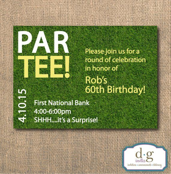 Birthday Invitaiton Golf Party Theme Par Tee Invitation 5x7 PRINTABLE