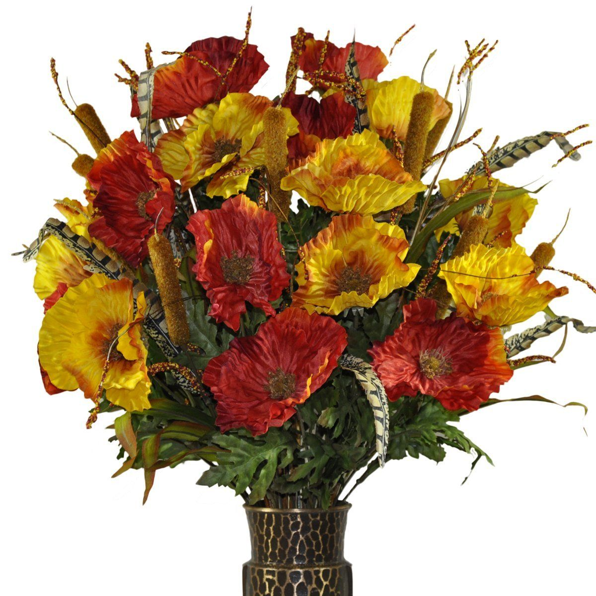 Red And Orange Poppy Silk Flower Bouquet With Stay In The Vase