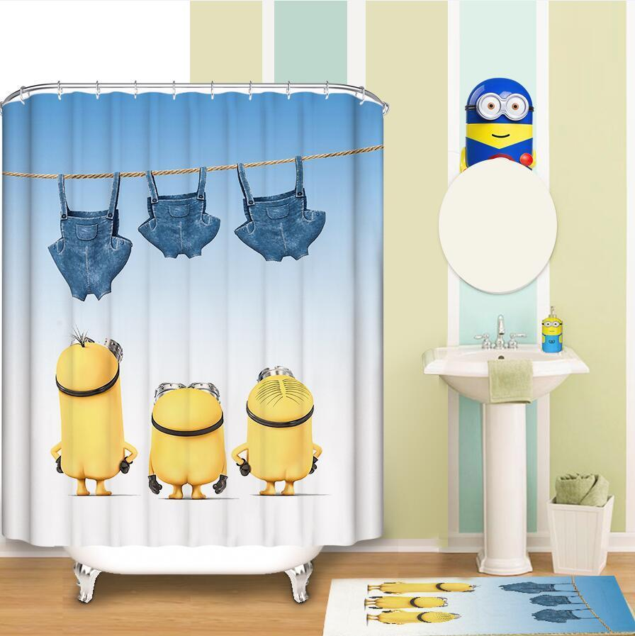 Cute Minion Shower Curtain Kids Minion Bathroom Set