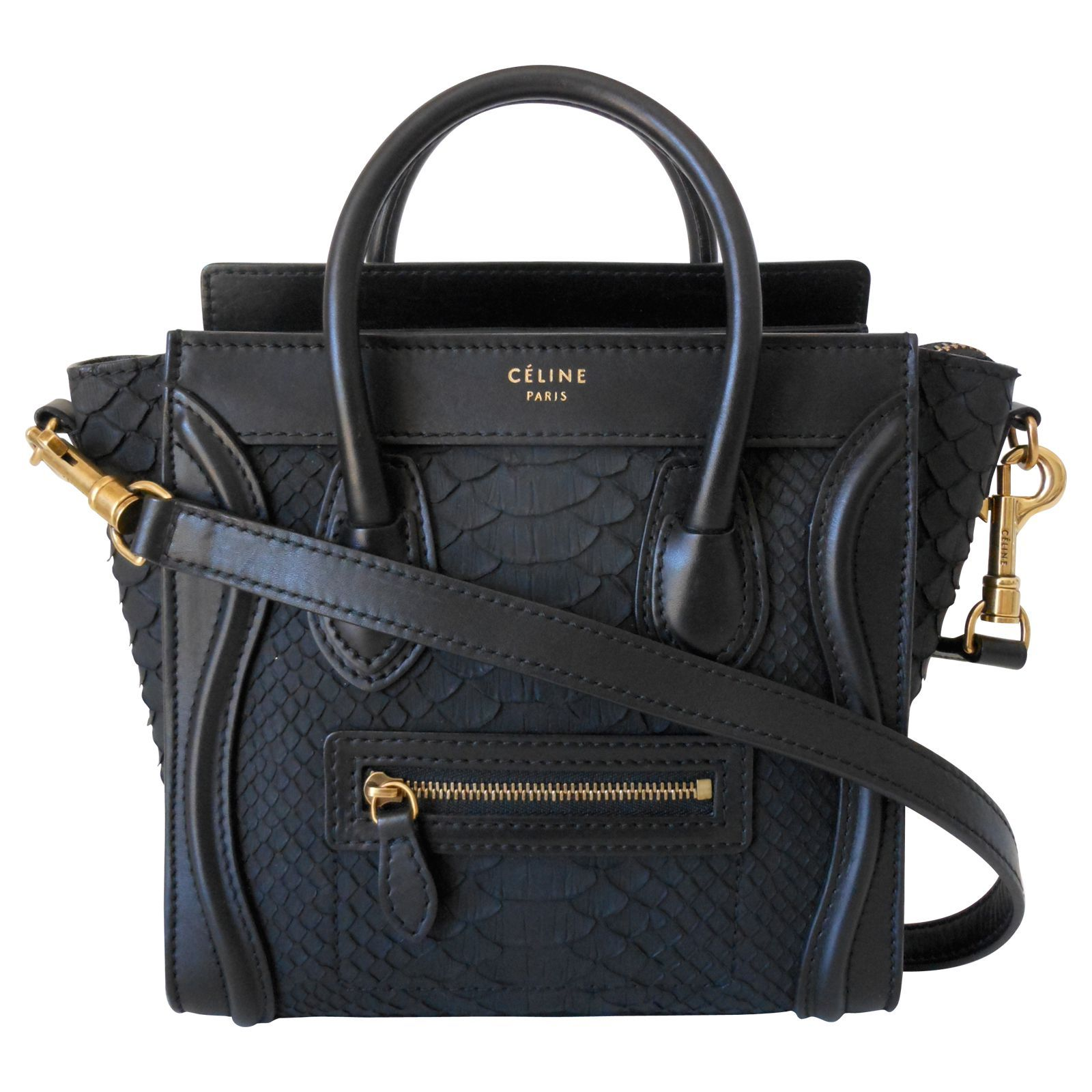 a2db157ea Bag Celine Luggage Nano model Rare piece in python and black leather - gold  jewelery Double leather handle for Handbag - with removable shoulder strap  ...