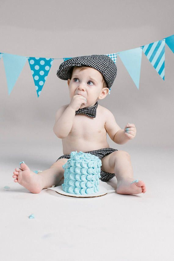 Baby boy cake smash outfit houndstooth newsboy hat tie and bloomers