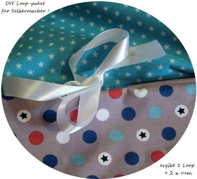 Stoffpaket♥Loop♥ DIY Sterne dots Sterne türkis von ஐღKreawusel-aufgehübscht✂ஐ  auf DaWanda.com