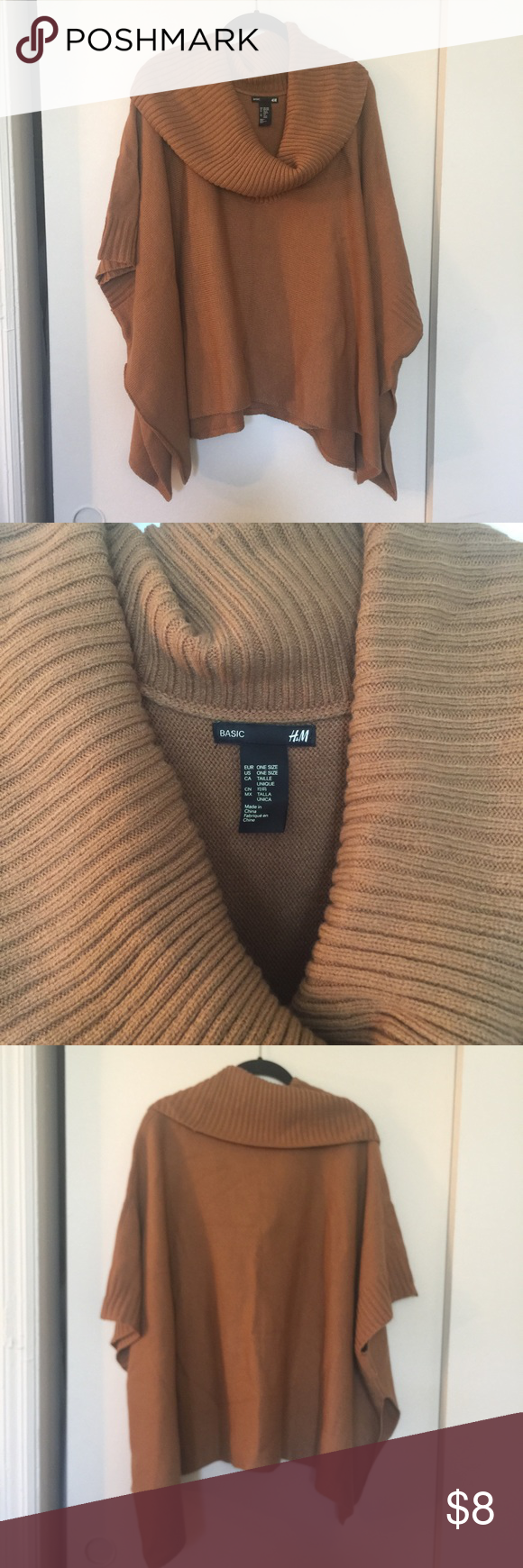 Tan poncho sweater Tan pull over poncho sweater . Like new condition H&M Sweaters Shrugs & Ponchos