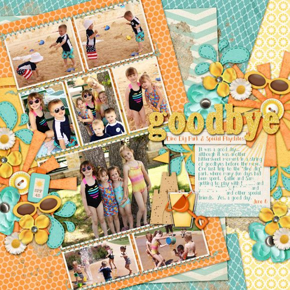 farewell scrapbook template - goodbye dino dig park digital