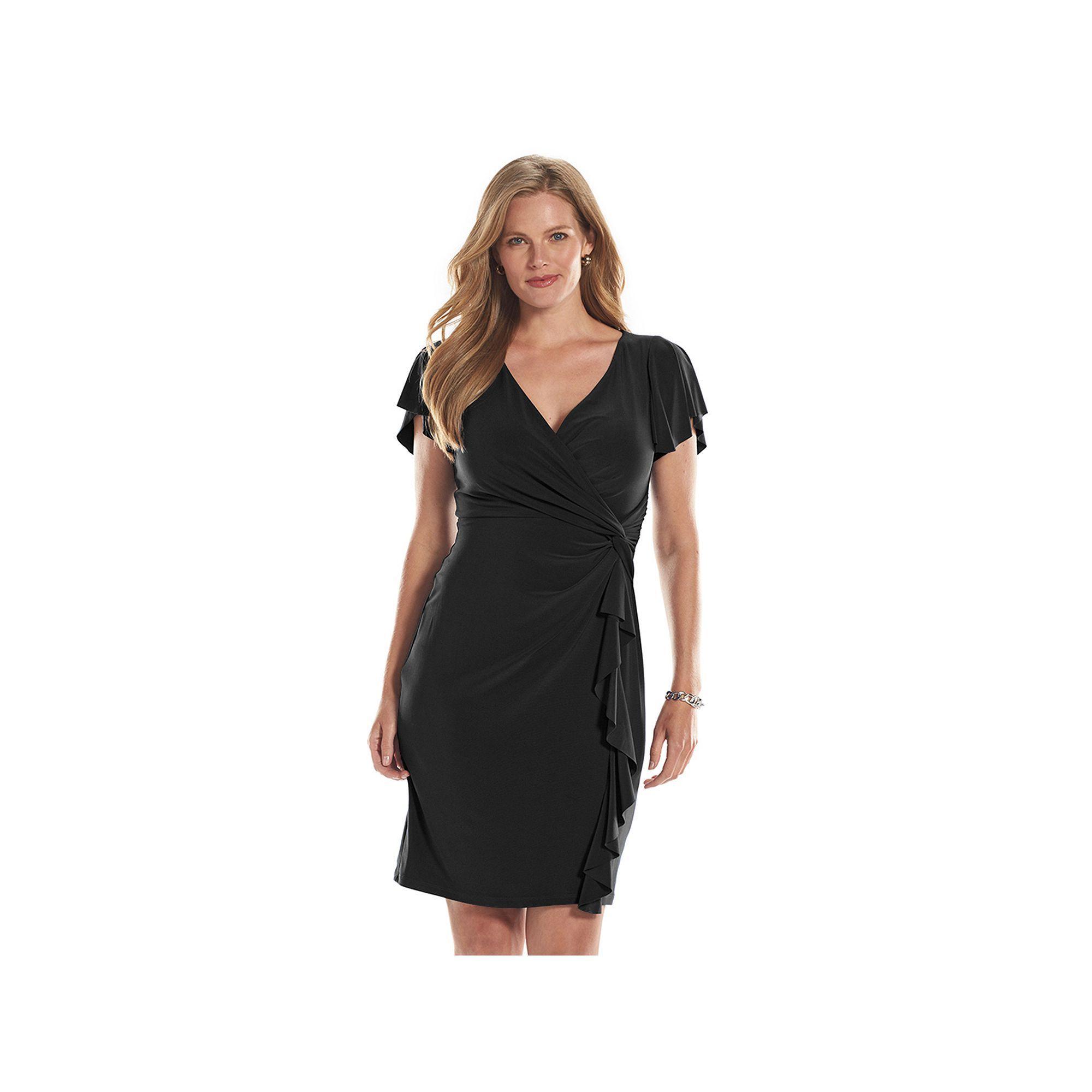 0aa6959d6e Plus Size Chaps Surplice Faux-Wrap Dress